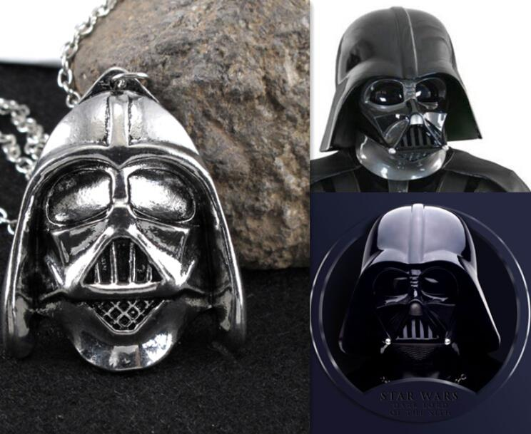 Pendants Necklace Movie Jewelry Star Wars Darth Vader's Helmet Pendant Silver Chain Necklace Collares Mujer Men Jewelry Colar(China (Mainland))