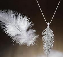 Women Feather Crystal Pendant Necklace Statement Collar Party Necklace New Style Dress Bib Jewelry Wholesale