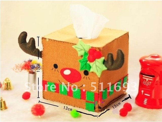 X mas decoration tissue box christmas felt tissue box milu for Application box decoration