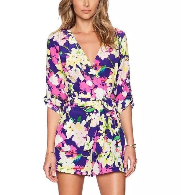 LF173 Мода Женская элегантный sexy Цветочные печати комбинезоны отдыха Половина Рукава ...