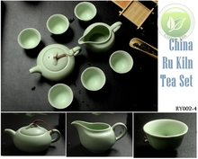 8pcs Warm Jade Chinese Ru Kiln Yao Sky Cyan Teaset Ceramic Rare Tea set,1 Tea Pot,1 Justice Cup,6 Teacups,Porcelain RY002-4