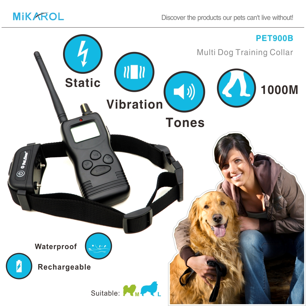 Remote Bark Control Collar Dogs Electronic Pet Trainer Dog Collar Electric 1000M Pet Dog Training Control Dogs 25-120 Pounds(China (Mainland))