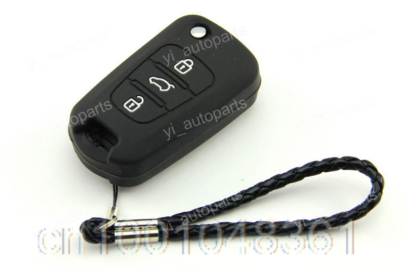 Black Silicone Shell Cover Holder Kia 3 Button Flip Key K2 Sportage Cerato Sorento - yiparts_plus store