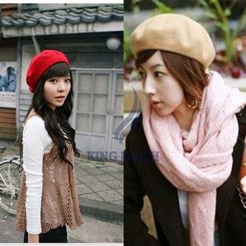 Free Shipping 5 pure Color New Fashion Wool Warm Lady Women Beret Beanie Hat Cap Hot