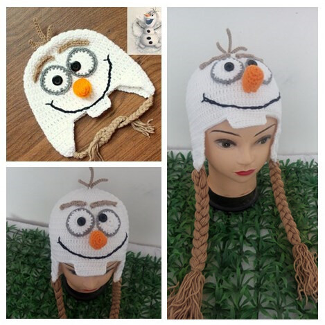 New Arrivals Handmade Knitted Crochet Baby Hat Snowman Hat Cute Cartoon Baby Beanie Warm Winter Cap With Ear Flap(China (Mainland))