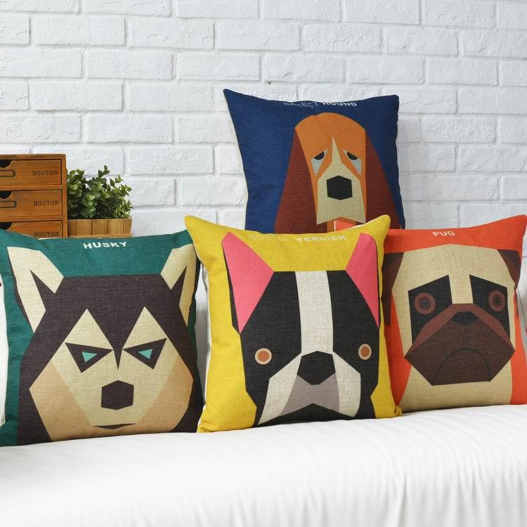 Free Shipping Dull Geometry Dog Linen Fabric Throw Pillow Hot Sale New Home Fashion Christmas Decor 45cm Bar Sofa Car Cushion