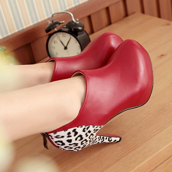 Fashion Style Ankle Boots Round Toe High Heels women motorcycle boots Leopard Women's Naked Boots size 34-43 Career dress Pumps