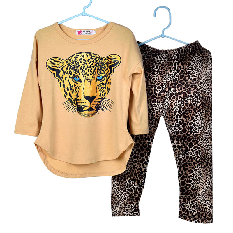 Girls Clothes Baby Girl Set Girl's Leopard Long Sleeve T Shirts Leggings Kids Sports Suit Children  -  NO.1 . Crown store