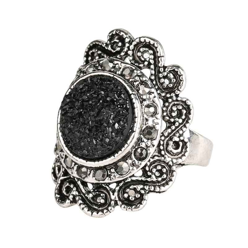 Fashion Rings For Women 2015 Vintage Jewelry Black Ore Resin Ring Inlay Crystal Flower Round Punk Rock Free Shipping(China (Mainland))