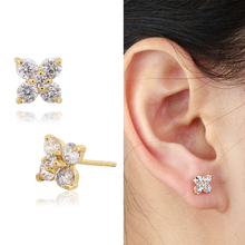 18K Yellow Gold Plated Clear 4 Petal Flower Zircon CZ Anti-Allergic Piercing Stud Earrings Jewelry for Children Girls Baby Kids(China (Mainland))