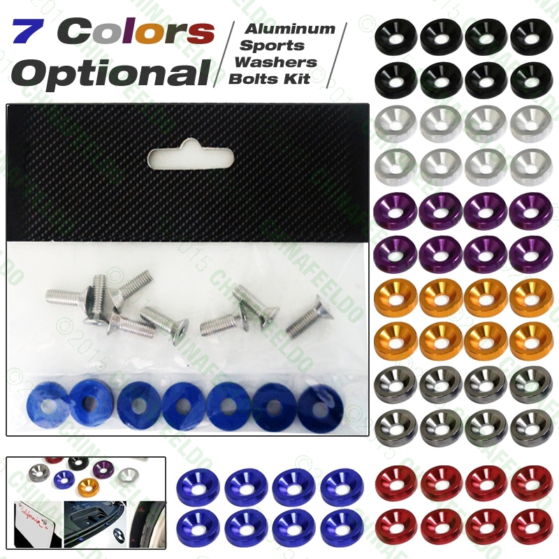 10SET  Racing Style Aluminum Washers Bolts Kit For Car Fender/Bumper/License J-4613<br><br>Aliexpress