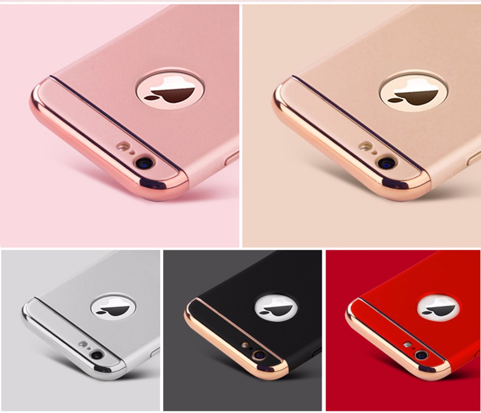 Fashion Women Man Ultra-thin Shockproof Armor Plated Frame Back Cover Case for Apple iPhone 6 6S 7 Plus 5s SE Phone Case