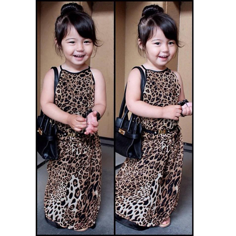 Leopard Dress for Girls Summer Tank Tops Style Childrens Dresses Trendy Clothing Girls Party Clothes Kids Wear D04X25(China (Mainland))