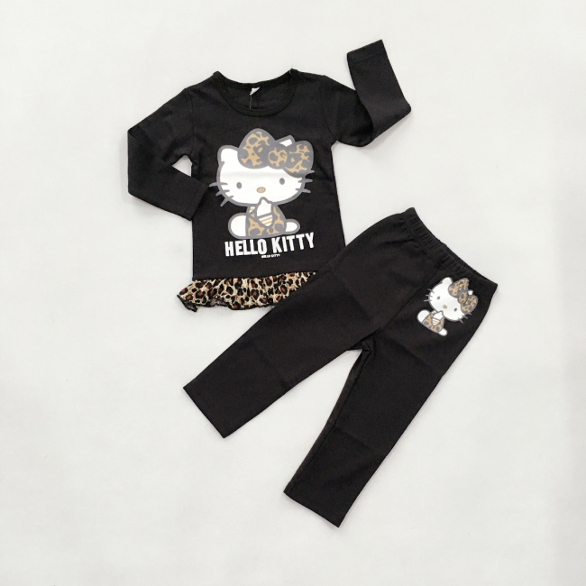 2pcs Girls Full Sleeve Cute Cartoon Design Clothing Sets Toddlers Hello Kitty Print Blouse + Pants Infant Leopard Grain Pullover(China (Mainland))