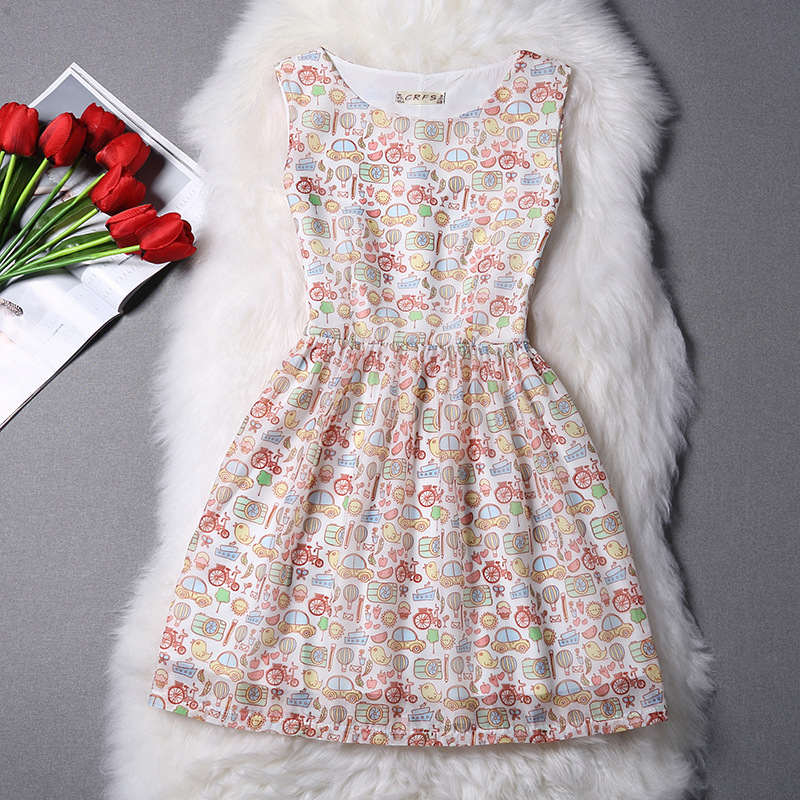 New 2016 Beautiful City Print Organza Summer Style Elegant Women Dress Sexy Party Dresses Vintage Casual Clothing With Lining(China (Mainland))