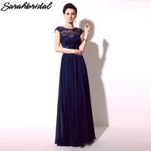 Azul real de la gasa dama de honor vestidos largos pura escote de encaje de la boda vestidos del partido largo vestidos de dama de honra en Stock SD096(China (Mainland))