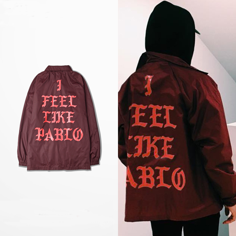 I Feel Like Pablo Jacket Fashion Rib sleeve Polyester Tyga Thin Coat I Feel Like Pablo Yeezy Season 3 Swag Hip Hop Jacket(China (Mainland))