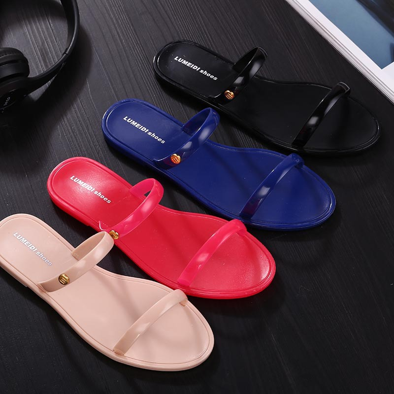 New 2016 Shoes Woman Sandals Lovely Jelly Shoes Solid Casual Slippers Summer Style Fashion Slides Flats Free Shipping(China (Mainland))