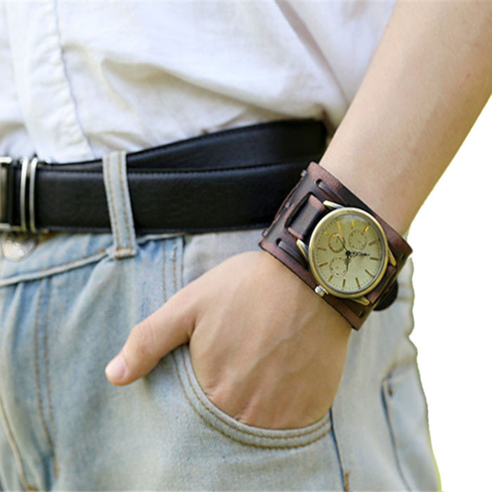 Splendid summer style New Style Retro Punk Rock Brown Big Wide Leather Bracelet Cuff Men Watch