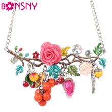 Buy Bonsny Statement Bird Flower Choker Necklace Enamel Alloy Collar Pendant 2016 Fashion New Jewelry Women Charm Accessories for $6.75 in AliExpress store