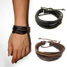 2017 Hot 100% hand-woven Fashion Jewelry Leather Braided Rope Wristband  Wrap multilayer men bracelets & bangles for women(China (Mainland))