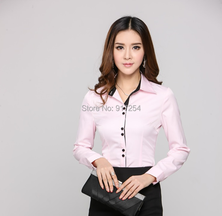 Buy New Novelty Pink Office Lady 2015 Fashion Spring Autumn Blouses Career