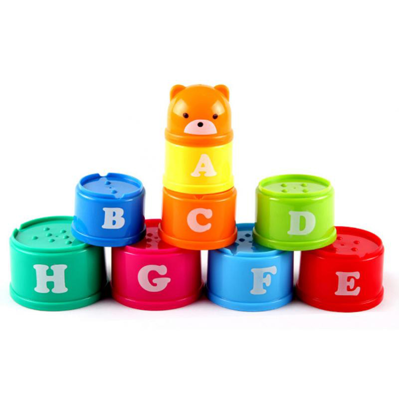 New Baby Toy Excellent Baby Children Kids Educational Toy New Building Block Figures Letters Folding Cup Pagoda Gift 9Pcs/set(China (Mainland))