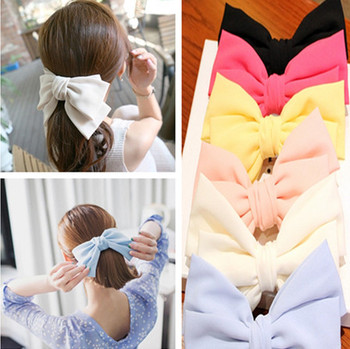 New Arrival Fashion Big Bow Chiffon Hair Clips Barrettes Women Hair Accessories