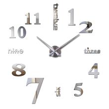 2016 hot new Quartz clocks fashion watches 3d real big wall clock rushed mirror sticker diy modern design decor free shipping