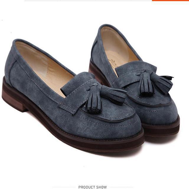 Новая коллекция весна 2016 женщин синглов обувь кисточкой с плоской подошве баллок оксфорд британский ретро ступил обувь для женщин мокасины обувь