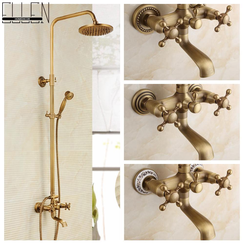 Antique rain shower faucets set hand brass wall mounted mixer bathroom - Ellen Homedecor store