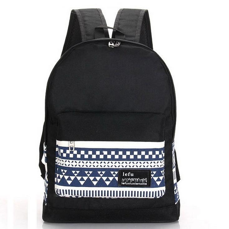2015 Korean Printing Geometric patterns Women men's Canvas Backpacks School Bags For Teenagers Travel Bags Mochila Ruchsacks(China (Mainland))