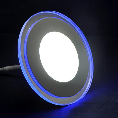 10pcs/lot 15W AC85-265V Blue With White/Warm White Dual Color Round Shape Ultral Thin Flat Ceiling Lamp LED Panel Light(China (Mainland))