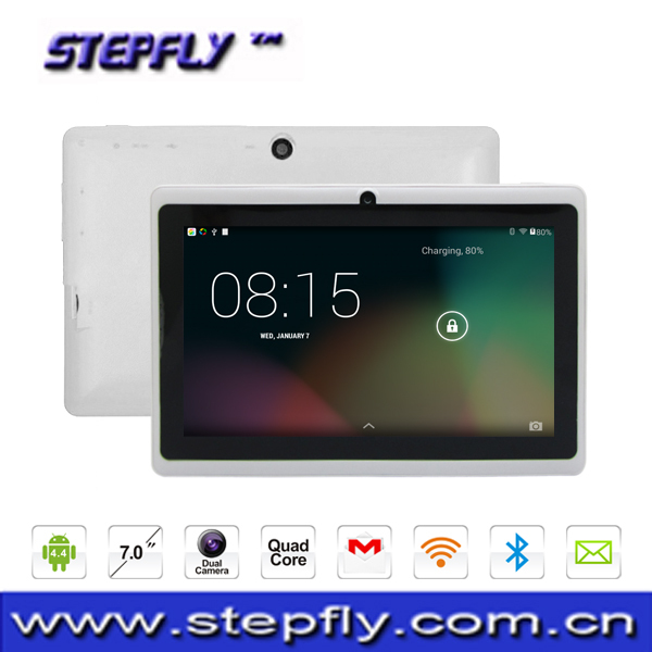 Stepfly free shipping high quality 7 inch HD capacitive screen quad core A33 8G camera 2mp wifi tablet pc (M7033)(China (Mainland))