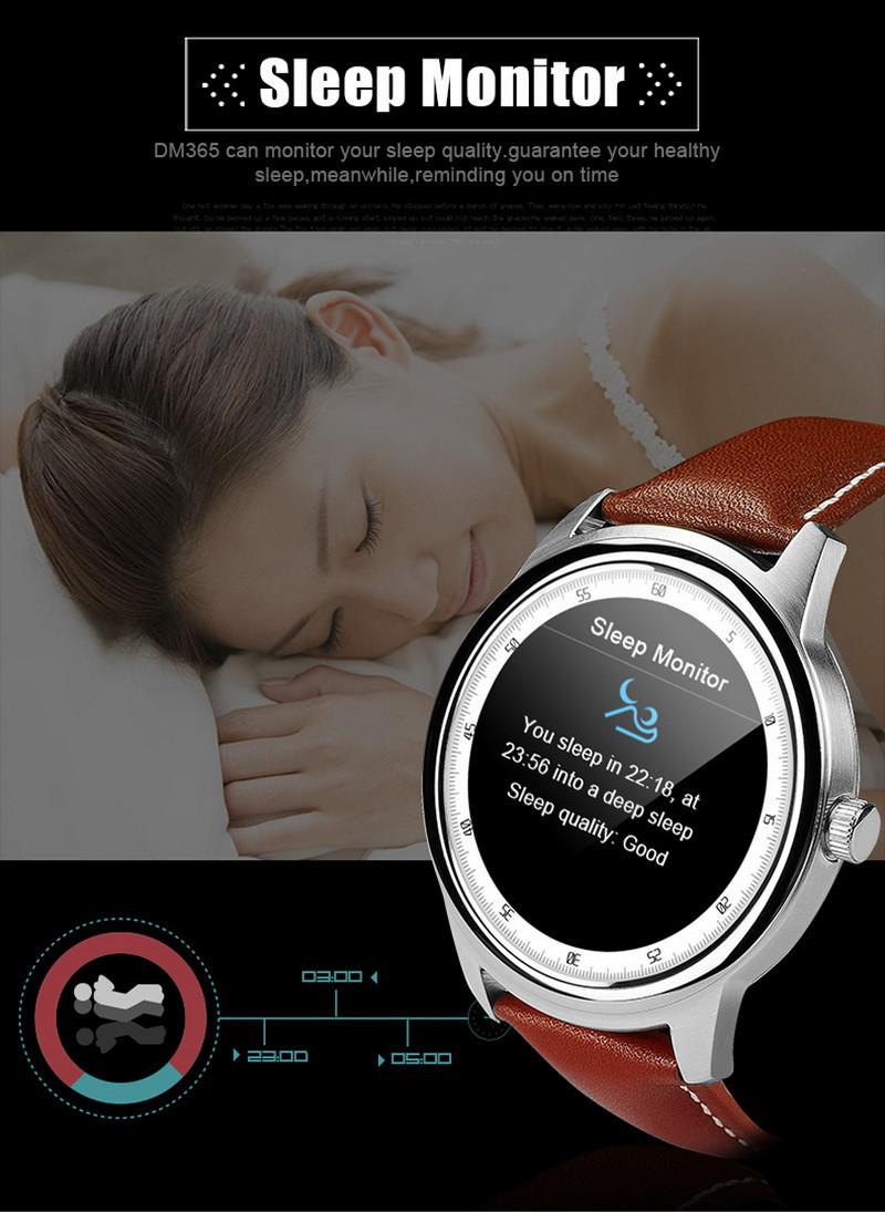 ถูก 10ชิ้นDM365สมาร์ทนาฬิกาที่เรียบง่ายบางHeartstringsบลูทูธMTK2502รอบSmartwatchซิงค์โทรสำหรับip honeซัมซุงโทรศัพท์VS DM360