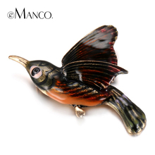 eManco Trendy Chic Charming Cute Enamel Bird Brooches Pins for Women Gold Plated Banquet Decoration Fashion Jewelry(China (Mainland))