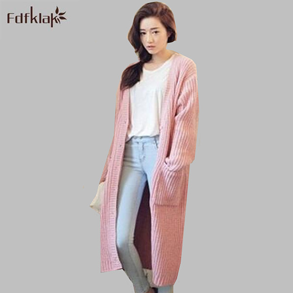 2017 New fashion long sweater for women autumn winter knitted cardigan sweaters women's clothing pull femme Q0444(China (Mainland))