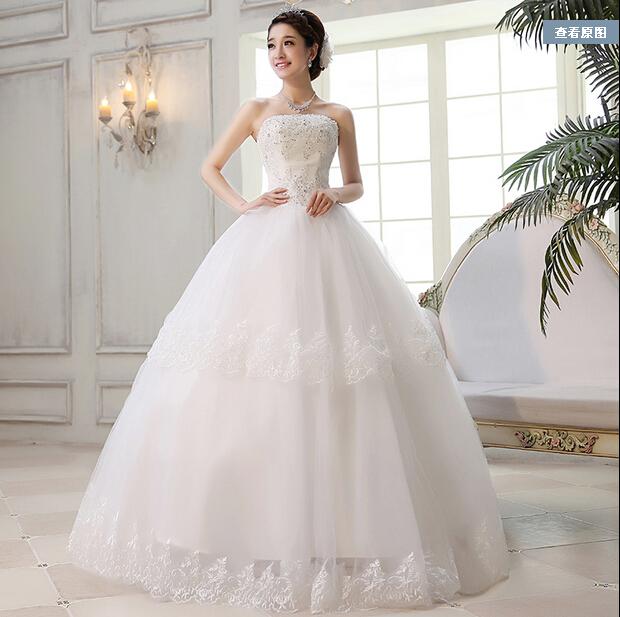 Top Luxury Wedding Dress : Luxury winter bride diamond princess tube top train wedding dress