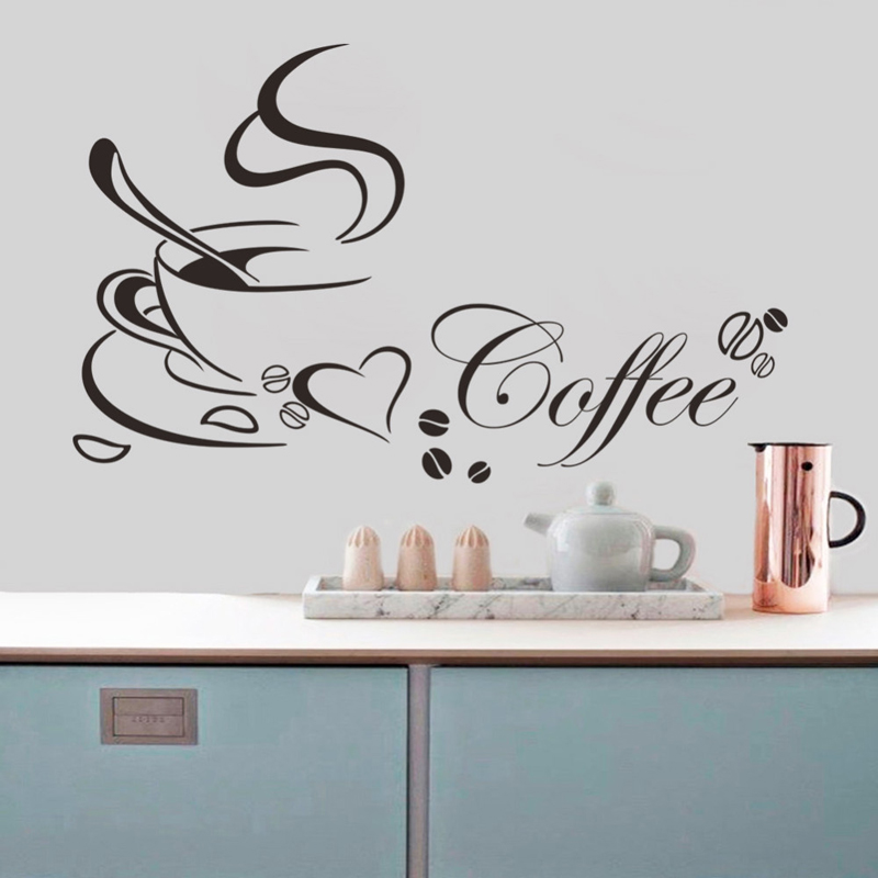 Home Decor English Quote Wall Decal Decorative adesivo de parede Vinyl Wall Stickers Kitchen Livingroom Words Lettering Coffee(China (Mainland))