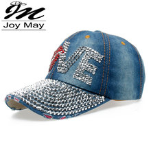 High quality JoyMay Hat Cap Fashion Leisure Woman cap Love Lips Rhinestones Vintage Jean Cotton CAPS Baseball Cap B131(China (Mainland))