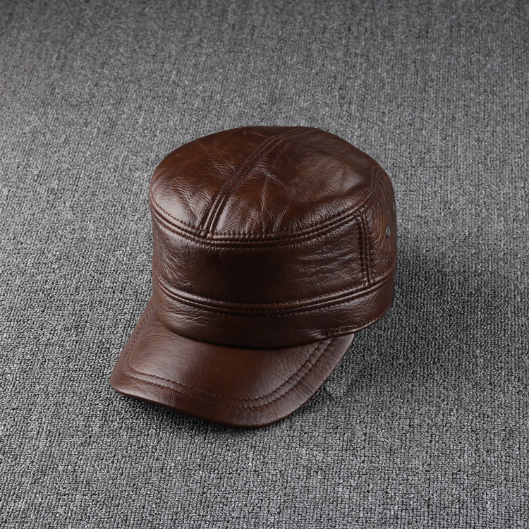Cowhide male cap ear cadet military hat thermal outdoor casual genuine leather - Jiajia Long's store