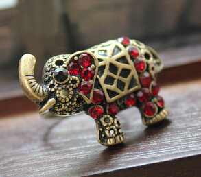 Hot Sale Elephant Animal Rings for Women Unique Ruby Rings Fine Jewelry