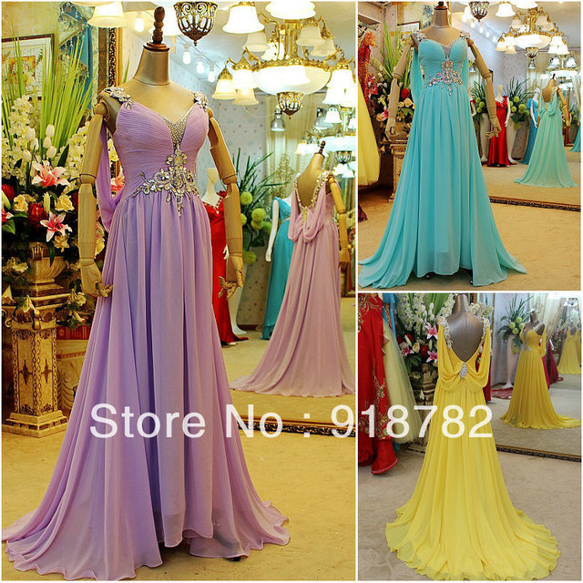 Real Photos Dresses New Fashion 2013 Elegant  Sexy Evening dress Crystals Pink  Long Design Bridal  Prom  Evening  Party Gowns