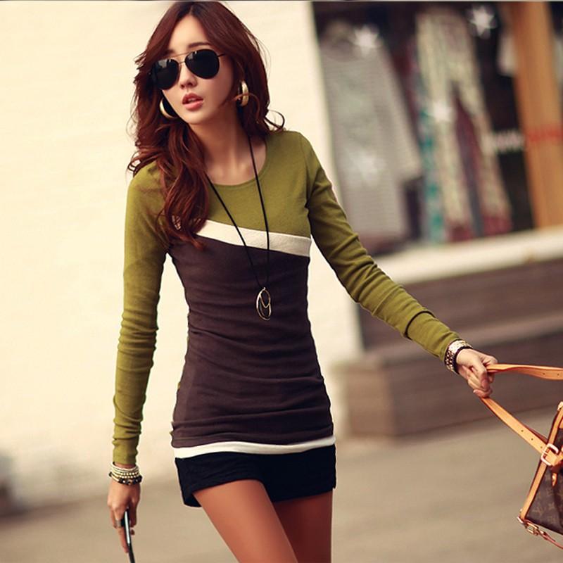 הקידום סתיו סתיו חולצת נשים נשים שרוול ארוך לעומת סלים מצויד נשים החולצה העליון בגדי משלוח חינם 1736