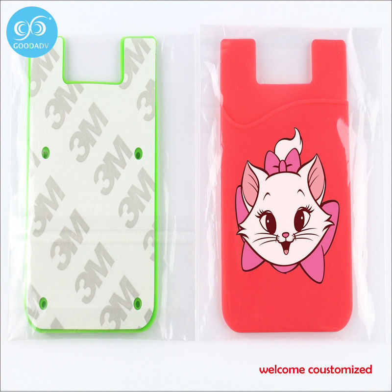 Manufacturers supply silicone phone card holder simple durable promotional gift ladies credit card holder welcome to order(China (Mainland))