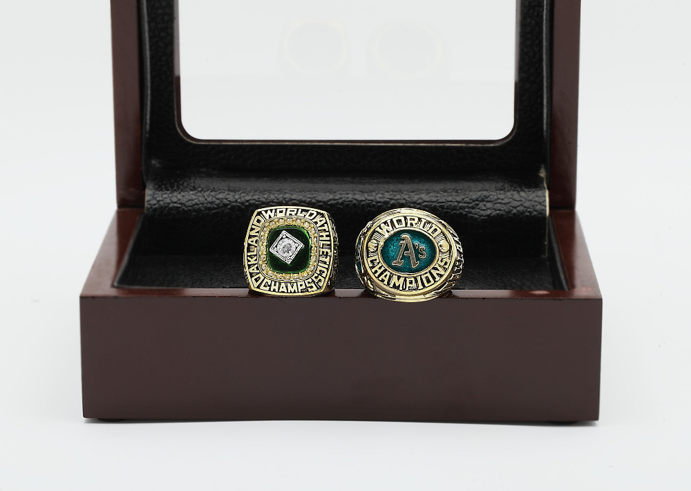 One Set (2PCS) MLB 1974 And 1989 OAKLAND ATHLETICS WORLD SERIES Championship Ring Size 10-13 With Wooden Box<br><br>Aliexpress