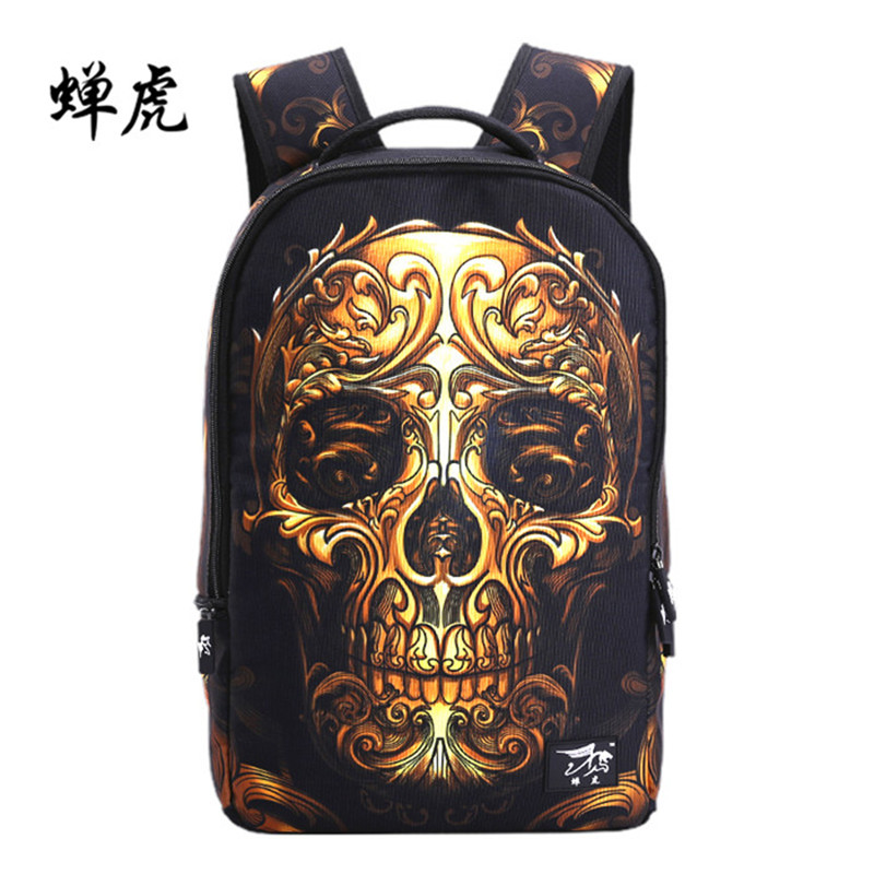 European and American Style Skull Bag Men Hip-hop Rock Laptop Backpack Children Orthopedic School Bags For Teenagers Girls Boys