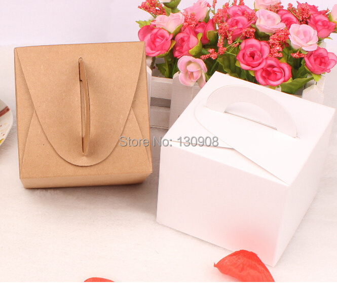 Kraft Paper biscuit handle boxes,cardboard box for cake /biscut packaging with handle(China (Mainland))
