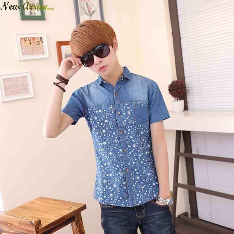 Free Shipping stocks juvenile mens shirts short sleeve cotton slim fit denim shirt can be placed the night market 1431650262(China (Mainland))