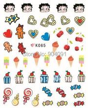 55Sheet LOT 3D Betty Cartoon NAIL sticker design sticker decal Cartoon For Fingernail nail accessories